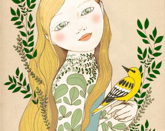 Yellow oriole girl,  illustration art print of original drawing