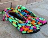 Crocheted Blacklight / Black House Slippers - Ballet Flat Style - Teen/Adult - MADE TO ORDER