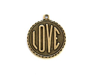 Brass Ox LOVE Word Charm Drop with Loop (1) chr195AA