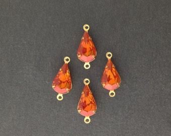 Vintage Hyacinth Glass Teardrop Stones in 2 Loop Brass Setting Connector 13x8mm (4) par003H2