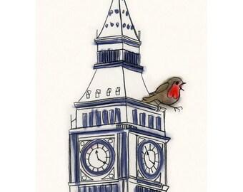 """Bird art Robin. Robin Kong goes to London -   4 for 3 SALE 4"""" X 6"""" robin print)"""