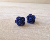 Sapphire Blue Blooms Stud Earrings Flower Earrings Handmade Jewelry Bud Spring Floral San Diego California