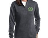 Monogrammed Pullover with Quarter Zip - Monogram Sweatshirt, Monogram Pullover, Monogrammed Sweater, Gift for her, Holiday gift