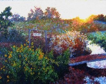 """Landscape Oil Painting, Framed Original, Garden Sunrise, Pointilism, Impressionistic, 18"""" x 24"""""""