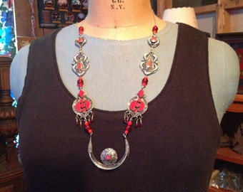 Crescent Moon, Redesigned Red Kuchi Necklace, One of a Kind