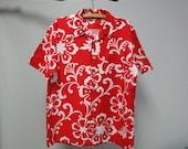 Vintage Royal Islander Hawaiian Shirt Red and White Pareo Print Polynesian Size large