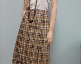 Vintage Camel Tan Plaid Skirt, 70s 80s Tartan Pleated Wool Skirt Waist 25