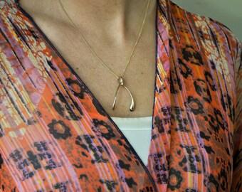 Mini Gold Wishbone Pendant