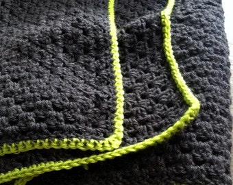 Charcoal Grey Crochet Granny Square Afghan Blanket Lime Green Neon Edge