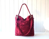 Poetry in Burgundy / Pleated Bag / Shoulder Bag / Diaper /Large /Travel /Ruffles Bag /Hobo /Messenger /Cross Your Body /Choose your Color