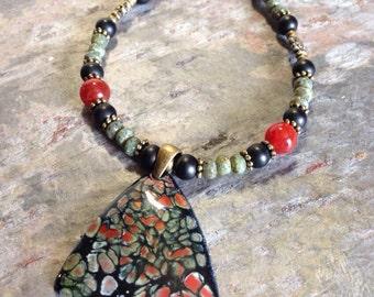 Tribal bohemian boho enameled pendant necklace agate Czech glass beads green black orange summer hippie earthy bold handcrafted handmade