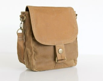 Waxed Canvas Bag, Waxed Canvas Hip Bag, Waxed Canvas Pouch - The Minus Hipster Plus in Sand Waxed Canvas