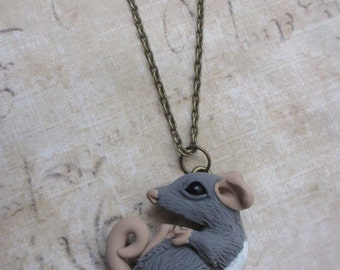 Snuggling rat necklace