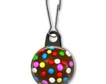 Candy Crush color bomb zipper pull.  Candy crush charm.