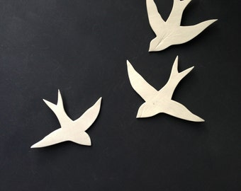 Wall art Birds Set of three porcelain swallows Modern silhouette ceramic wall sculpture installation