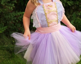 apron RAPUNZEL dress up  TUTU apron  kids apron for girls fun for special occasion or birthday party dress up costume