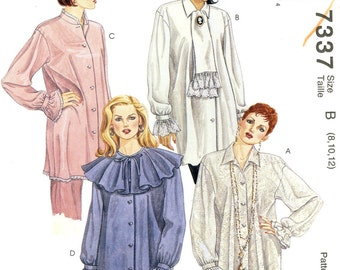 McCalls 7337 Tunic Blouse Top and Scarf Size 8 10 12 Uncut Vintage Sewing Pattern 1994