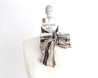 Vintage 1970s Jacqueline Ferrar Silk Scarf | Striped Silk Scarf