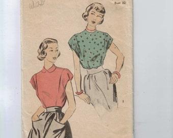 1950s Vintage Sewing Pattern Advance 5117 Misses Blouse Size 14 Bust 32 Waist 26 50s  99