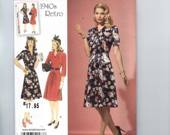 REPRODUCTION Misses Sewing Pattern Simplicity 1587 Retro 1940s Style One PieceDress Size 14-22 Misses and Petite UNCUT