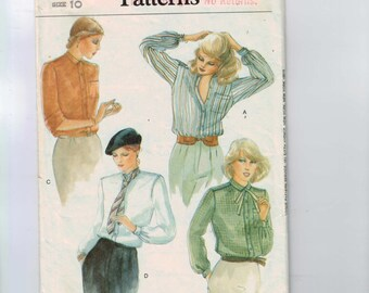 1980s Vintage Sewing Pattern Vogue 7924 Misses Button Front Shirt Size 10 Bust 32 1/2 1980s 80s