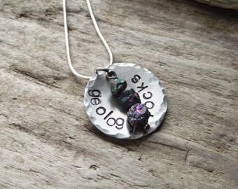 Geology Rocks Pendant- Science STEM Geologist Gift Jewelry- Geekery Titanium Quartz Stamped Pendant Jewelry