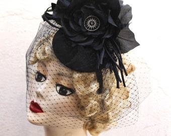 Black Birdcage Veil, Widows Veil, Birdcage Veil, Silk Rose, Hat, High Fashion, Double Birdcage, Tulle,  Weddings, Batcakes Couture