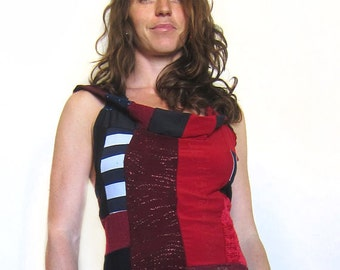 Circus Halter Hoodie - Red and Black Patchwork, Festival Fun