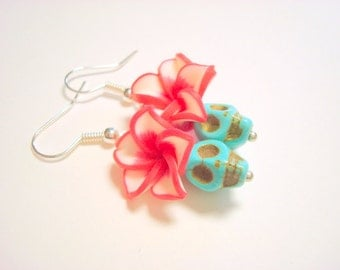 Tiny Turquoise and Red Day of the Dead Sugar Skull and Flower Earrings
