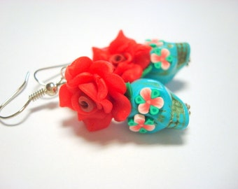 Sugar Skull Earrings Small Turquoise and Red Day of the Dead Roses and Sugar Skulls