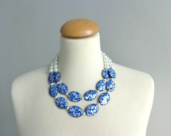 Statement pearl blue necklace damask blue