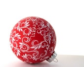 Words: Hand painted Ornament Inspirational personalized ornament wedding anniversary Wedding gift ornament first Christmas Red and white