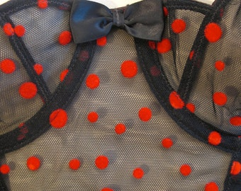 90s Red Polka Dot Bustier and Panties 34B by Rien NOS