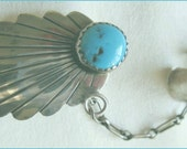 Vintage 1980s Turquoise and Silver Single Ear Cuff and Earring Ethnic Feather Design nowandthenstyle