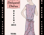 Vintage Sewing Pattern 1920's Flapper Draped Dress Ebook Depew 3013 -INSTANT DOWNLOAD-