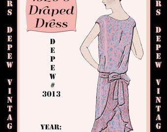Vintage Sewing Pattern 1920's Flapper Draped Dress Ebook Depew 3013 -INSTANT DOWNLOAD-