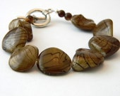 Brown Shell Bracelet with Black Stripes