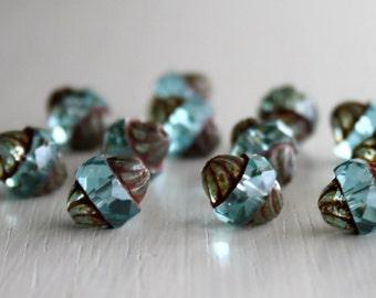 15 Aqua Picasso 10x11mm Turbine Beads - Czech Glass