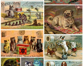 CATS AND DOGS - Digital Printable Collage Sheet - Circus Dogs & Cats from Victorian Trade Cards and Vintage Postcards, Instant Download