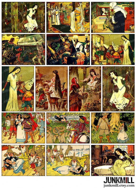 SNOW WHITE - Digital Printable Collage Sheet - Vintage Brothers Grimm Fairy Tale with Seven Dwarfs, Huntsman & Evil Queen, Instant Download