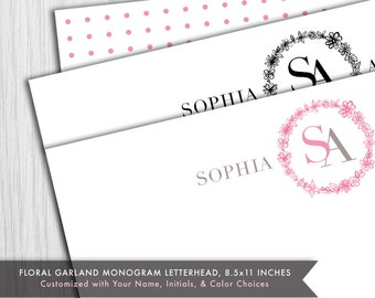 PRINTED Monogram Letterhead - Flower Garland Stationery - 8.5x11 inches - Custom initials and Colors - Printed for You - #149