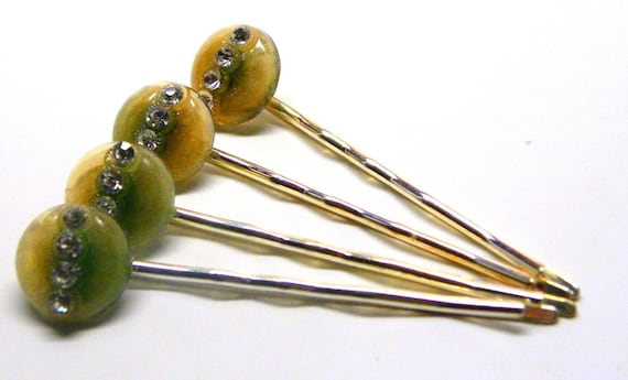 4 Vintage Art Deco Pastel Green Amber Ombre RHINESTONE CELLULOID  HAIRPINS
