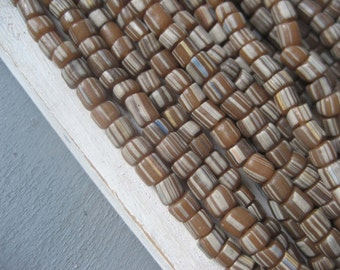 brown glass beads ,opaque white striped glass beads ,spacer barrel tube,matte seed beads Modern Indo-pacific 3 to 6 mm / 10 inch- 3BBGL19-12
