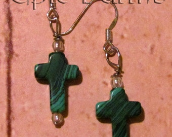 Cowgirl Cross Drop Earrings in Gorgeous Green Malachite