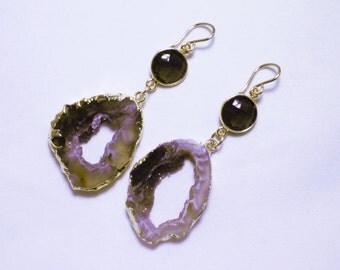 Brown Ocho Geode Earrings Smokey Quartz Geode Earrings Druzy Gold Raw Stone Earrings One of a Kind Raw Stone Earring AS-E-106-Ocho-Brn-004g