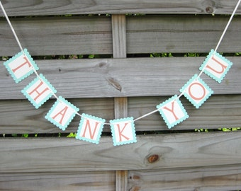 Thank You Banner in Coral orange and Mint - Wedding Photo Prop Sign