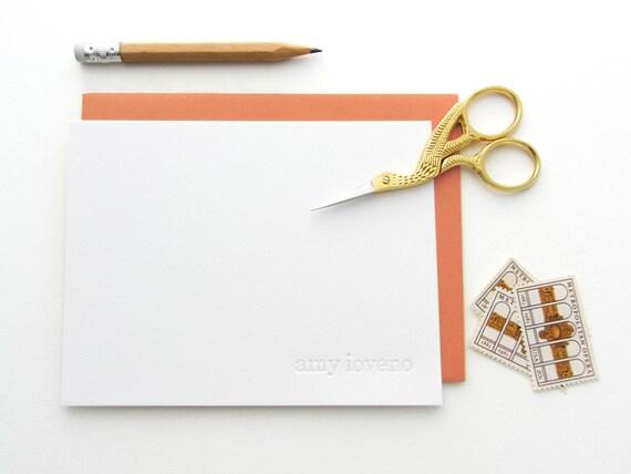 Letterpress - Blind Impression Stationery Set (century schoolbook font - lower case only) - 15 Qty