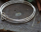 Open Heart Bangle set Hand stamped personalized Sterling Bangle set, forged and stamped bracelets with heart