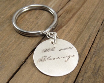 Mens Personalized Gift - ACTUAL Handwriting Keychain - Sterling Silver Personalized Key Chain