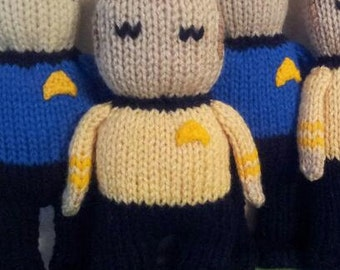 Captain Kirk Hand Knit -soft stuffed toy doll - 8-9 inches tall
